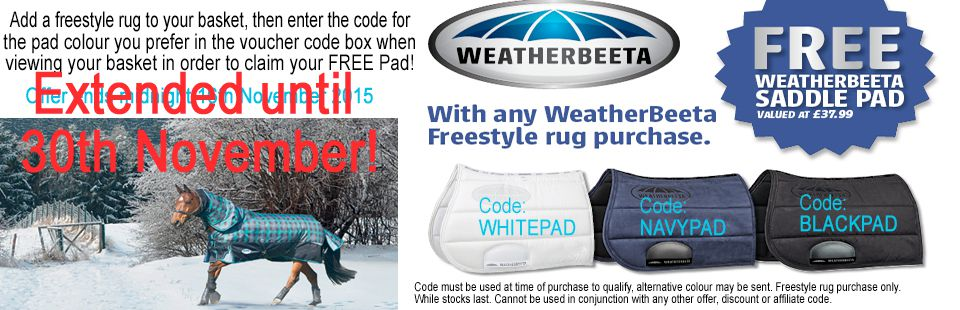 FREE sddlepad with every Freestyle rug