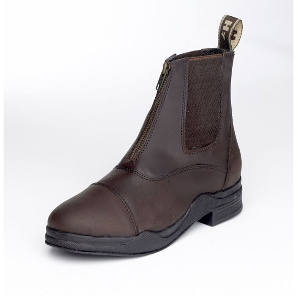 Hy Wax Leather Zip Riding Boots
