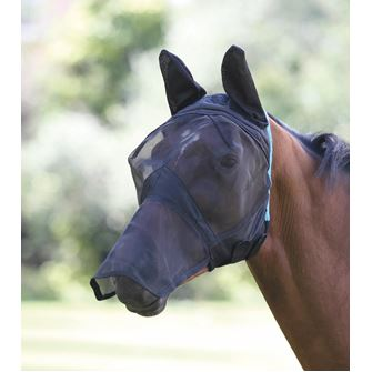 Shires Fine Mesh Fly Mask with Ears and Nose Extension