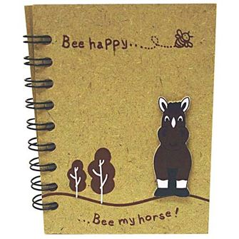 Wooden 'Bee My Horse' Notebook Medium