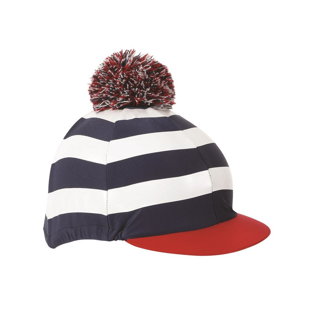 Shires Pom Pom Hat Cover with Stripes