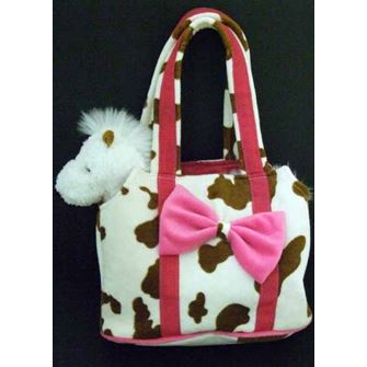 Brown and White Horsey Bag with Plush Horse Toy