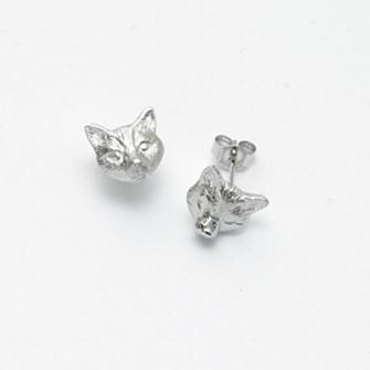 Falabella Sterling Silver Fox Head Stud Earrings with Presentation Box ER28