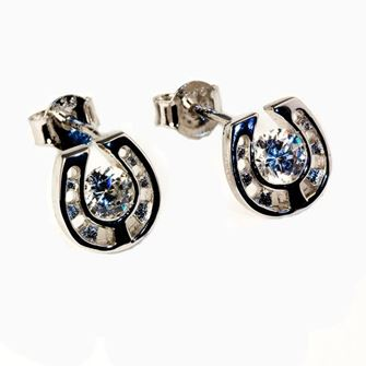 Falabella Sterling Silver Cutout Horseshoe Stud Earrings with Presentation Box ER16