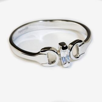Falabella Sterling Silver Snaffle Bit Ring with Presentation Box RG09