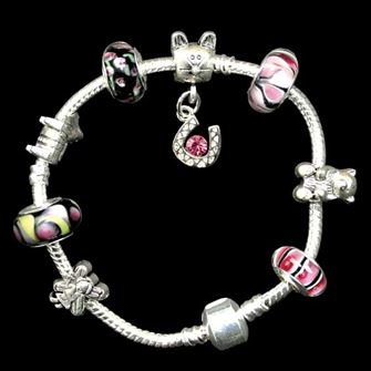 Horse Bead Rope Bracelet with Charm