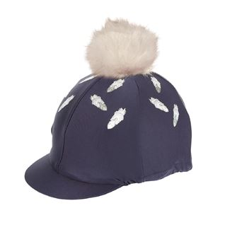 Shires Feather Print Hat Cover With Pom Pom