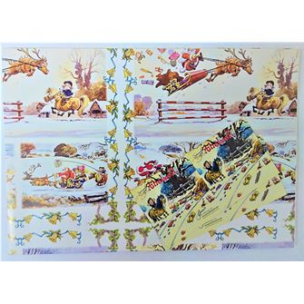 Thelwell Christmas Gift Wrap Pack of 2 sheets with 2 gift tags