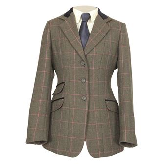 Shires Children's Huntingdon Show Hacking Jacket (Green/Pink Check)
