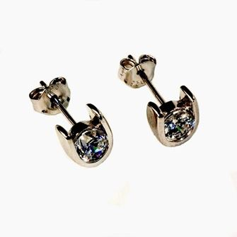 Falabella Sterling Silver Horse Shoe Stud Earrings with Presentation Box ER02