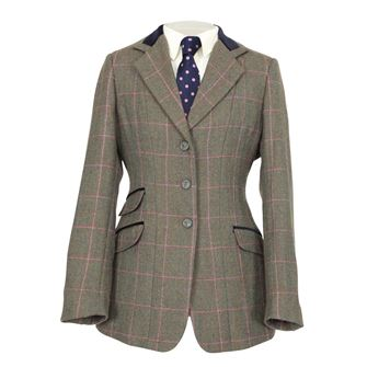 Shires Ladies Huntingdon Show Jacket (Green/Pink Check )