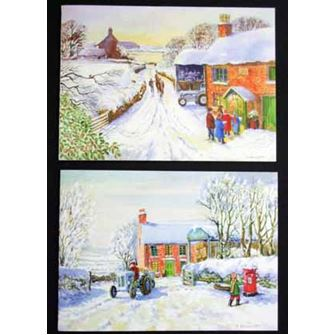 Post Early & Christmas Visitors Christmas Cards Pack 10